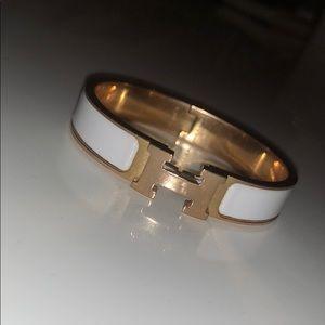 Hermès clic H bracelet, blanc (rose gold)